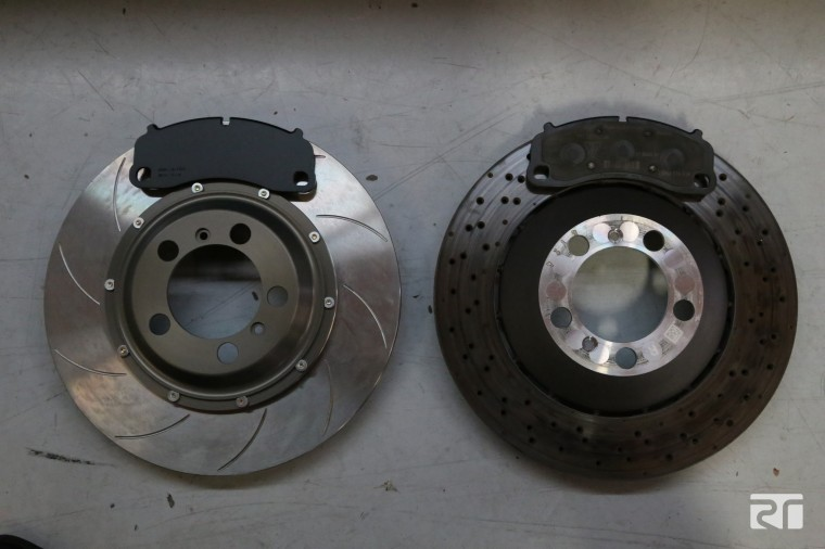 Brembo Porsche OE front disc vs Brembo 380 mm racing disc and pads.