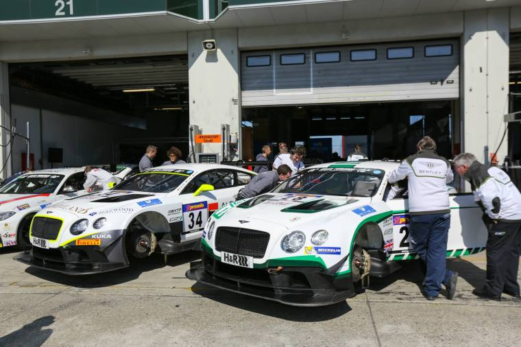 Bentley Continental GT3 running for the first time at Nurburgring 24. Photo Credit: Team HTP Motorsport.