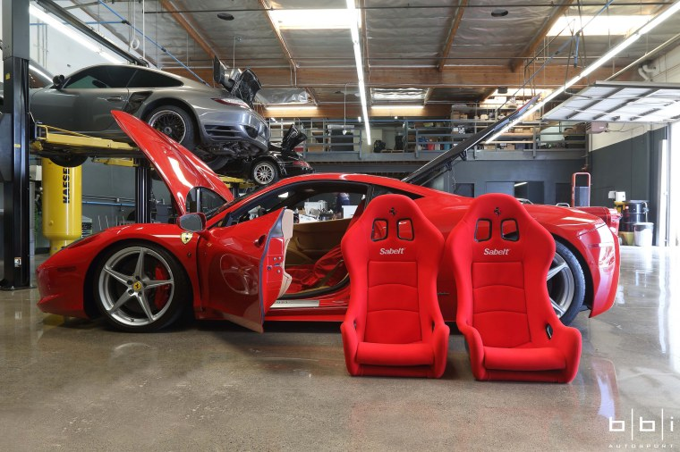 Ferrari Sabelt dry carbon seats in Ferrari 458. Photo: Jerry Truong / BBi Autosport