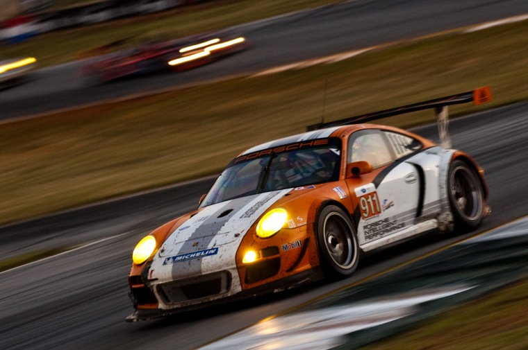 Porsche factory run 997 GT3-R Hybrid at Petit Le-Mans. Photo : James Boone