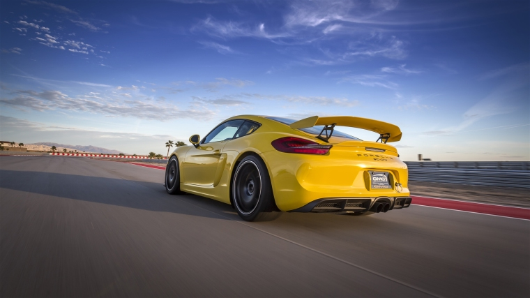 Cayman GT4 rear can get unsettled under braking. Photo: GMG Racing