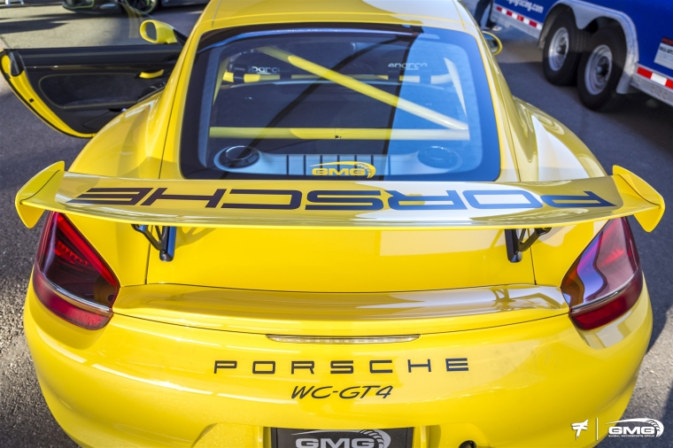 The Porsche Cayman GT4 is a mid-engine platform with the engine closer to the center of the chassis. Photo: GMG Racing